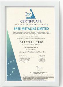 Sree Metaliks Ltd ISO 45001 Certificate